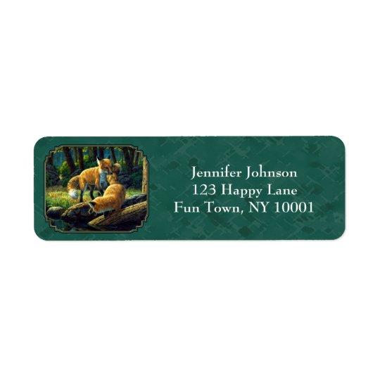 Etiqueta Perritos lindos del Fox que juegan Forest Green
