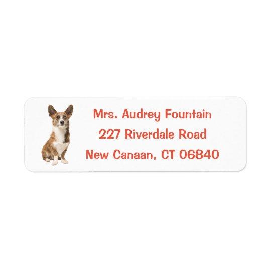 Etiqueta Perro de perrito del Corgi Galés de la rebeca