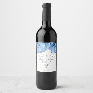 Etiqueta personal floral azul del vino del boda