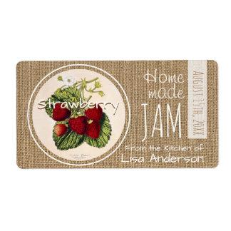 Etiqueta personalizada mermelada de fresa rústica