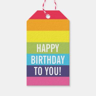Etiqueta personalizada rayada arco iris del regalo