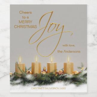 Etiqueta personalizada velas del vino del navidad