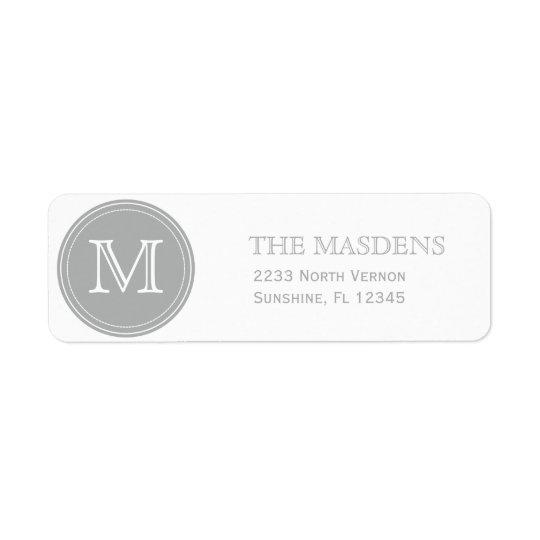 Etiqueta Personalizado personalizado gris con monograma