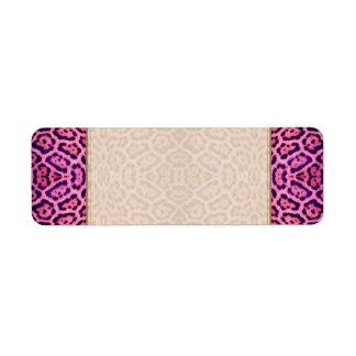 Etiqueta Piel de Jaguar en rosa y púrpura