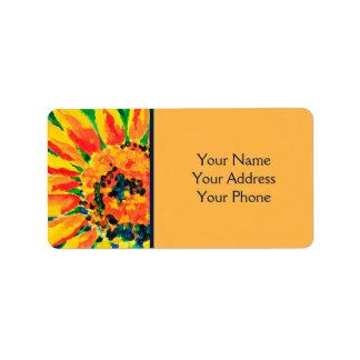 Etiqueta Pintura de acrílico del solo girasol colorido