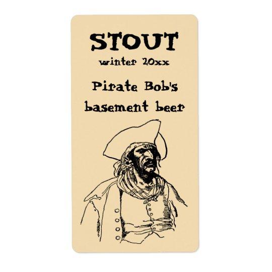 Etiqueta Piratas del vintage, un bosquejo de Bucanero de
