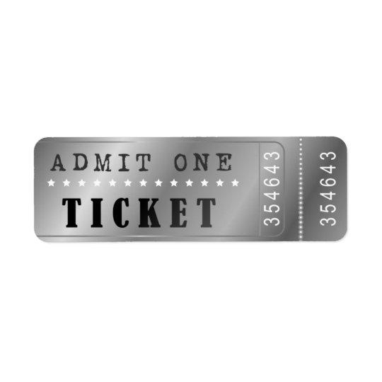Etiqueta Plata del vintage de la demostración del boleto de