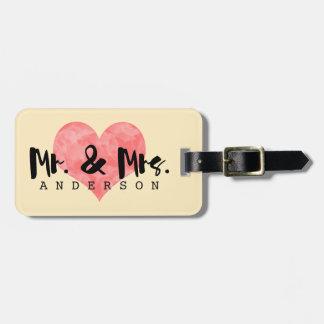 Etiqueta poner crema del equipaje + Corazón rosado