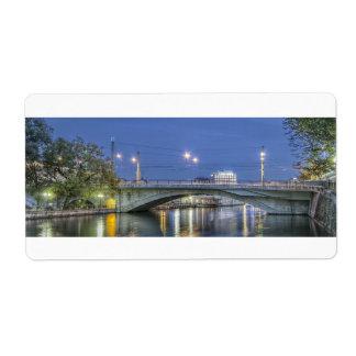 Etiqueta Pont de la Coulouvreniere Ginebra Suiza