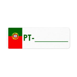 """Etiqueta Portugal """"estilo de la identificación de  Etiqueta De Remitente"""