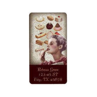 Etiqueta postres franceses de los pasteles de la magdalena
