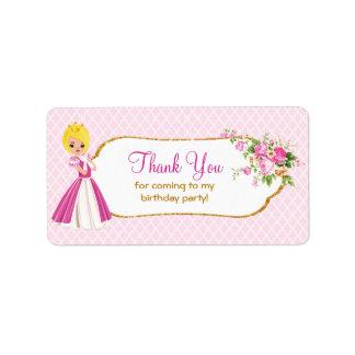 Etiqueta Princesa rubia bonita Birthday Thank You Labels