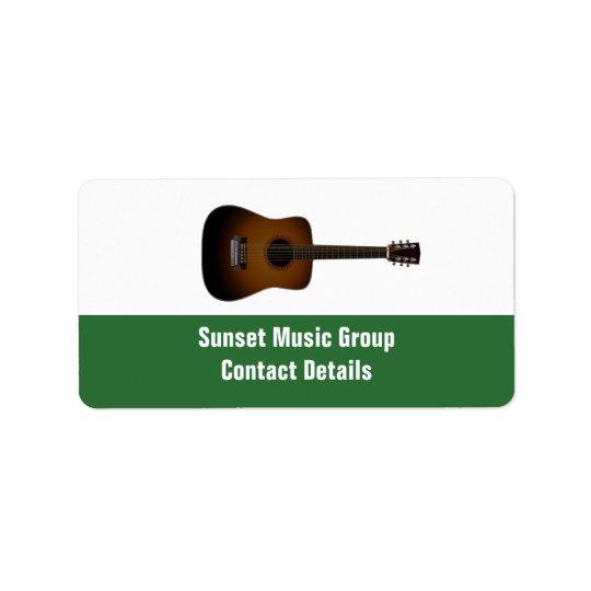 Etiqueta promocional de Avery del músico y de la Etiqueta De Dirección