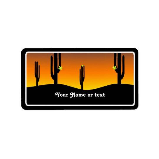 Etiqueta Puesta del sol de la flor del cactus