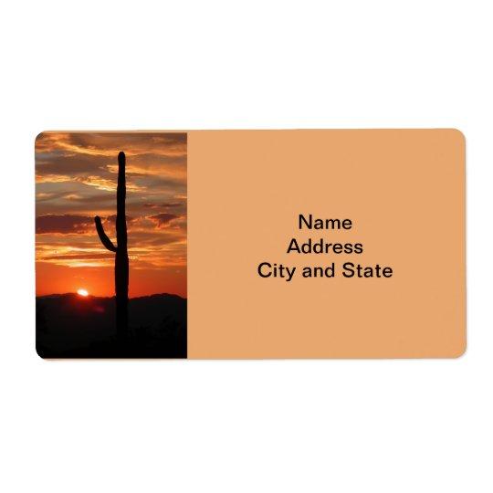 Etiqueta Puesta del sol del paisaje de Arizona