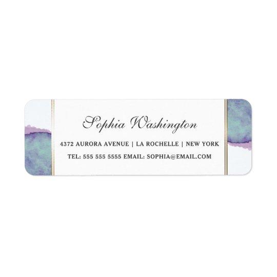Etiqueta Púrpura de la acuarela y dirección del boda de la