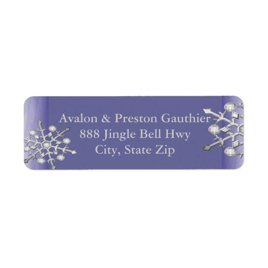 Etiqueta Púrpura de plata del copo de nieve del reflejo