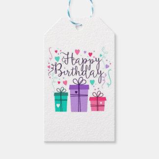 Etiqueta púrpura del feliz cumpleaños