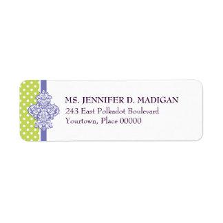 Etiqueta púrpura del remite de la cal del damasco