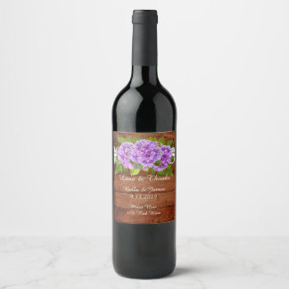Etiqueta púrpura del vino del boda del Hydrangea