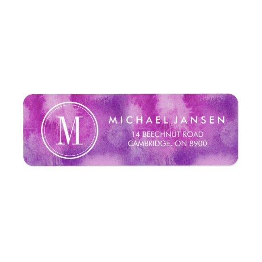 Etiqueta púrpura minimalista moderna de la etiquetas de remite
