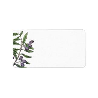 Etiqueta Púrpura verde de la rama de olivo el |