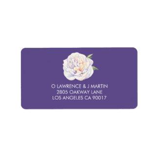 Etiqueta Púrpura violeta de la acuarela floral del Peony