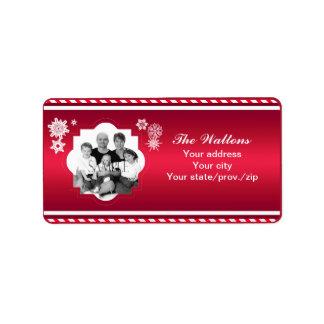 Etiqueta Raya del rojo de la foto de familia del navidad