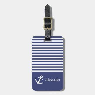Etiqueta rayada del equipaje de Nautica del nombre