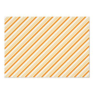 Etiqueta rayada del naranja y blanca de invitación 12,7 x 17,8 cm
