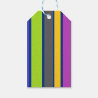 Etiqueta rayada multicolora del regalo