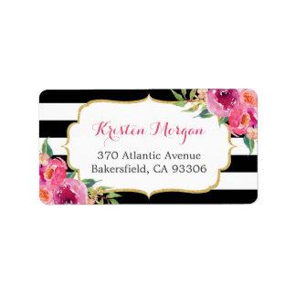 Etiqueta Rayas florales fucsias rosadas rojas púrpuras