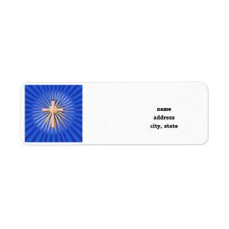 Etiqueta Rayos de la luz de la cruz religiosa (en azul)