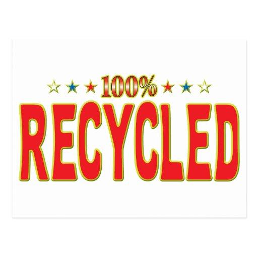 Etiqueta reciclada de la estrella postales