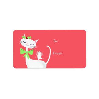Etiqueta Regalo blanco del gato y del ratón