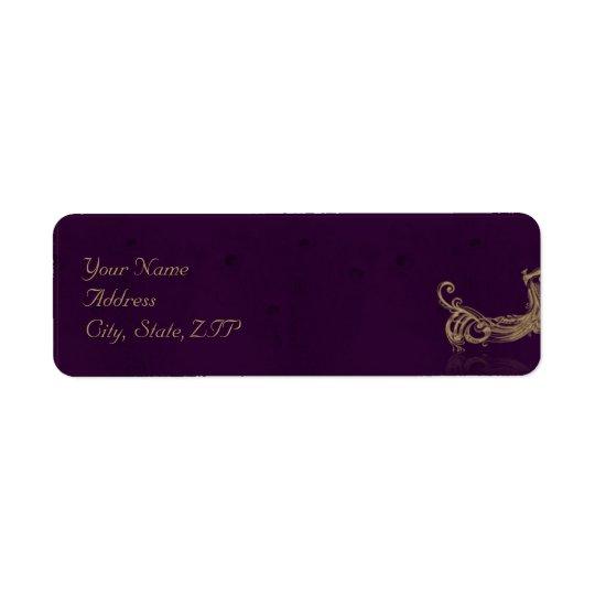 Etiqueta Regencia del pavo real en púrpura