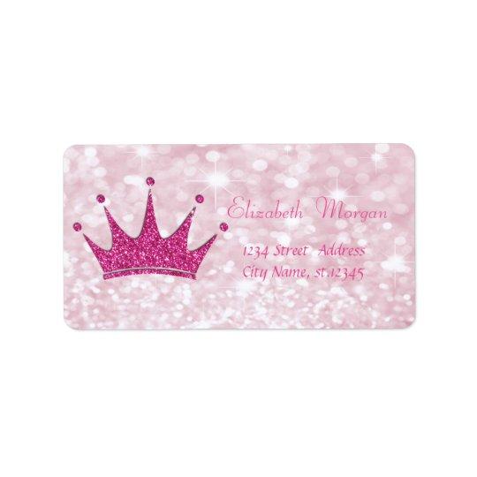 Etiqueta Reluciente rosado femenino elegante, Bokeh, tiara