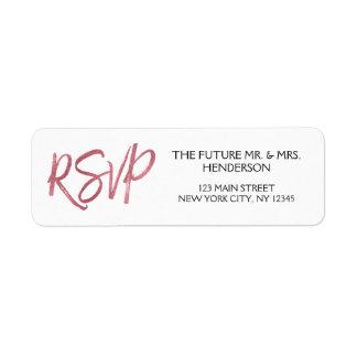 Etiqueta Remite color de rosa de RSVP del efecto metalizado