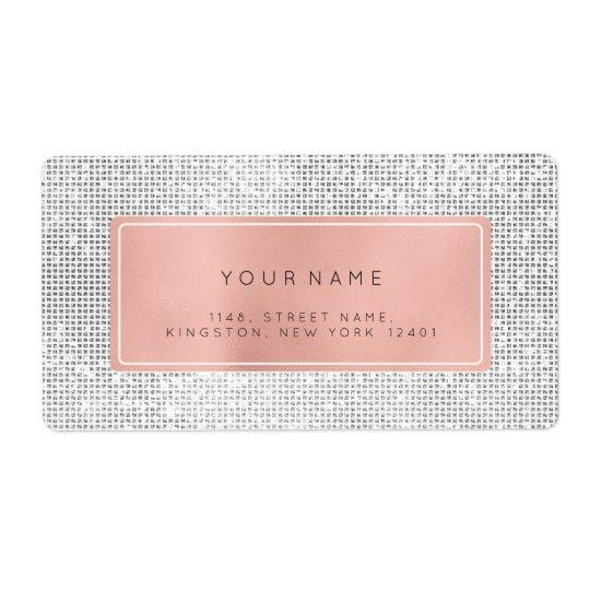 Etiqueta Remite de la plata color de rosa rosada de la hoja