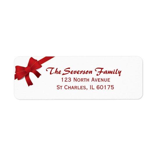 Etiqueta Remite del arco del día de fiesta rojo del navidad