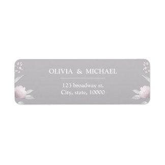 Etiqueta Remite del Chinoiserie floral rosado de plata