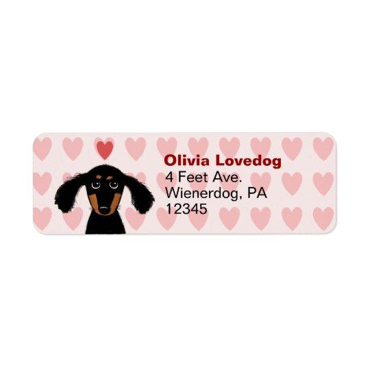 Etiqueta Remite del Dachshund del amor lindo de la tarjeta