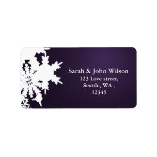 Etiqueta remite del invierno del copo de nieve púrpura del