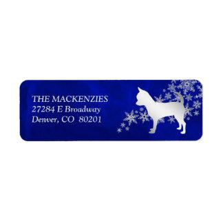Etiqueta Remite del invierno del perro azul de la chihuahua