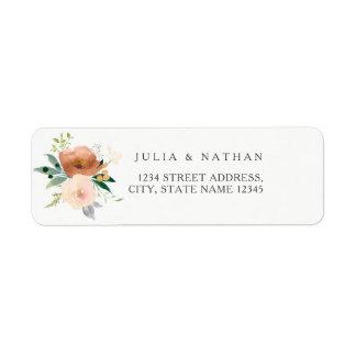 Etiqueta Remite del melocotón del sobre floral del boda