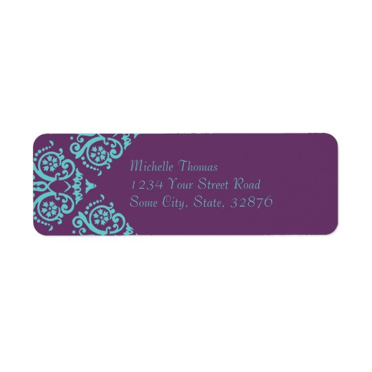 Etiqueta Remite del trullo y del damasco elegante púrpura