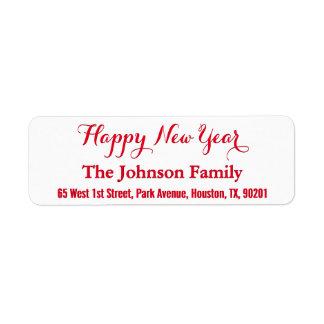 Etiqueta Remite elegante de encargo de la Feliz Año Nuevo