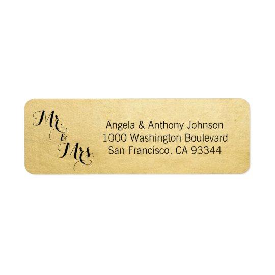 Etiqueta Remite elegante de Sr. y de señora Wedding del oro