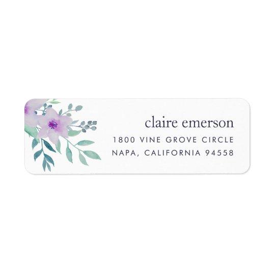 Etiqueta Remite floral violeta y sabio