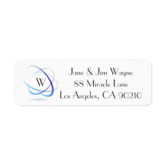 Etiqueta Remite mínimo abstracto azul 1 del monograma